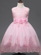 Tulle Scoop Sleeveless Zipper Lace and Appliques and Bowknot and Hand Made Flower Child Pageant Dress in Baby Pink