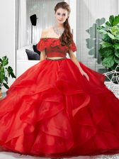 Red Two Pieces Off The Shoulder Sleeveless Tulle Floor Length Lace Up Lace and Ruffles Quinceanera Dress