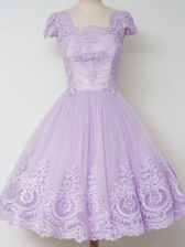 Pretty Lavender Square Zipper Lace Court Dresses for Sweet 16 Cap Sleeves