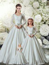 V-neck Long Sleeves Chapel Train Lace Up 15 Quinceanera Dress White Taffeta