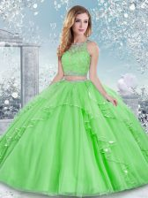 Best Sleeveless Tulle Floor Length Clasp Handle Sweet 16 Quinceanera Dress in with Beading and Lace