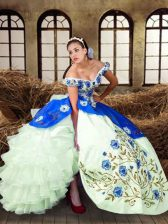 Off The Shoulder Sleeveless Sweet 16 Quinceanera Dress Floor Length Embroidery Multi-color Taffeta