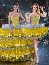 Decent Multi-color Sweet 16 Quinceanera Dress Military Ball and Sweet 16 and Quinceanera with Beading and Ruffled Layers Sweetheart Sleeveless Lace Up