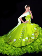 Pretty Yellow Green Sleeveless Embroidery and Ruffles Lace Up Quinceanera Dresses