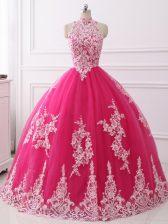 Hot Pink Sleeveless Floor Length Lace Zipper Sweet 16 Dress