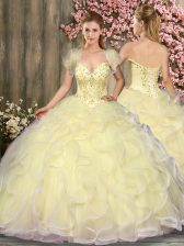 Light Yellow Ball Gowns Beading and Ruffles Vestidos de Quinceanera Lace Up Tulle Sleeveless Floor Length