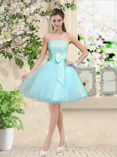 Aqua Blue Court Dresses for Sweet 16 Prom and Party with Lace and Belt Off The Shoulder Sleeveless Lace Up