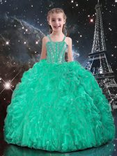 Organza Sleeveless Floor Length Little Girls Pageant Dress and Beading and Ruffles