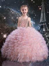 Trendy Pink Straps Neckline Beading and Ruffles Little Girl Pageant Dress Short Sleeves Lace Up