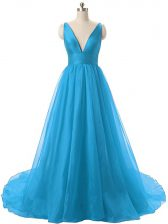 Blue Evening Dress Prom with Ruching V-neck Sleeveless Brush Train Backless