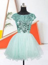 Apple Green Lace Up Prom Dresses Sequins Short Sleeves Mini Length