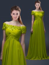 Clearance Olive Green A-line Off The Shoulder Short Sleeves Satin Floor Length Lace Up Appliques Homecoming Dress