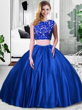 Most Popular Royal Blue Quinceanera Gown Military Ball and Sweet 16 and Quinceanera with Lace and Ruching Scoop Sleeveless Zipper