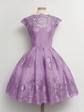 Lavender Dama Dress for Quinceanera Prom and Party and Wedding Party with Lace Scalloped Cap Sleeves Lace Up