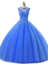 Blue Sleeveless Tulle Lace Up Quinceanera Dress for Military Ball and Sweet 16 and Quinceanera
