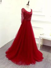 Wine Red Empire Beading and Lace and Belt Prom Dresses Zipper Tulle Long Sleeves
