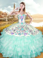 Custom Made Floor Length Lace Up Quinceanera Gowns Apple Green for Military Ball and Sweet 16 and Quinceanera with Embroidery and Ruffled Layers