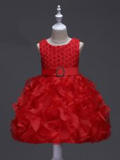 Great Ruffles and Belt Little Girl Pageant Dress Red Lace Up Sleeveless Knee Length