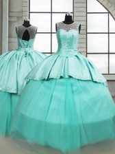 On Sale Turquoise Lace Up Quinceanera Gowns Beading Sleeveless Brush Train