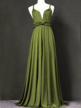 Nice Straps Sleeveless Vestidos de Damas Floor Length Ruching Olive Green Chiffon