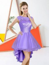 Classical Lavender Organza Backless Damas Dress Sleeveless High Low Beading and Lace