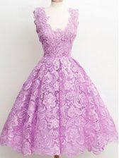 Decent Lilac A-line Lace Vestidos de Damas Zipper Lace Sleeveless Knee Length
