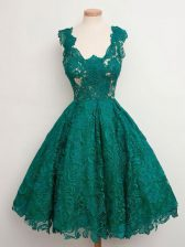 Pretty Dark Green A-line Lace Straps Sleeveless Lace Knee Length Lace Up Damas Dress