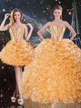 Orange 15 Quinceanera Dress Military Ball and Sweet 16 and Quinceanera with Beading and Ruffles Sweetheart Sleeveless Lace Up