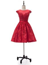 Sleeveless Mini Length Beading and Appliques Lace Up Homecoming Dress with Red