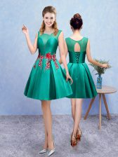 Inexpensive Sleeveless Knee Length Embroidery Lace Up Damas Dress with Turquoise