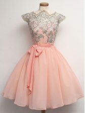Cap Sleeves Lace and Belt Zipper Quinceanera Dama Dress