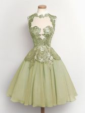 Perfect Knee Length Olive Green Quinceanera Court Dresses High-neck Sleeveless Lace Up