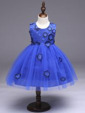 Royal Blue Sleeveless Tulle Zipper Kids Pageant Dress for Wedding Party