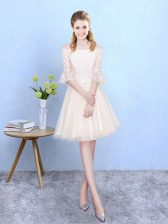 Trendy Knee Length Lace Up Quinceanera Dama Dress Champagne for Wedding Party with Lace