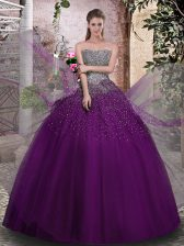 Noble Sleeveless Lace Up Floor Length Beading 15 Quinceanera Dress