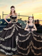 Sweetheart Sleeveless Taffeta Quinceanera Dress Embroidery and Ruffled Layers Lace Up