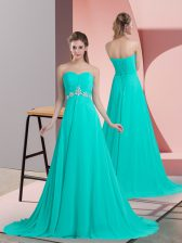 Turquoise Chiffon Lace Up Sweetheart Sleeveless Prom Dress Brush Train Beading