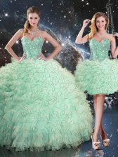 Edgy Apple Green Quince Ball Gowns Military Ball and Sweet 16 and Quinceanera with Beading and Ruffles Sweetheart Sleeveless Lace Up