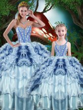 Free and Easy Ball Gowns Quinceanera Dress Multi-color Sweetheart Organza Sleeveless Floor Length Lace Up