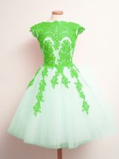 Multi-color Court Dresses for Sweet 16 Prom and Party and Wedding Party with Appliques Scalloped Sleeveless Lace Up