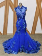 Fitting Royal Blue Sleeveless Brush Train Lace and Appliques Homecoming Dress