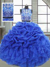 Modest Floor Length Royal Blue Vestidos de Quinceanera Scoop Sleeveless Zipper