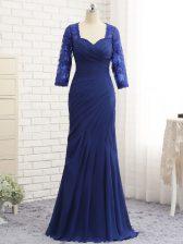 Best Floor Length Column/Sheath 3 4 Length Sleeve Blue Zipper