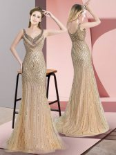Fine Champagne Sleeveless Beading and Sequins Zipper Prom Evening Gown