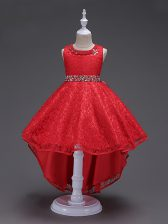 Sweet Red Little Girls Pageant Dress Wedding Party with Beading Scoop Sleeveless Lace Up