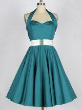 Teal Taffeta Lace Up Halter Top Sleeveless Knee Length Court Dresses for Sweet 16 Belt