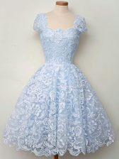Light Blue A-line Straps Cap Sleeves Lace Knee Length Lace Up Lace Quinceanera Court of Honor Dress
