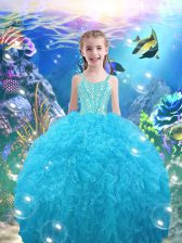 Modern Straps Sleeveless Organza Little Girl Pageant Gowns Beading and Ruffles Lace Up