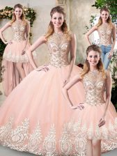 Spectacular High-neck Sleeveless Tulle Sweet 16 Dress Beading and Lace and Appliques Backless