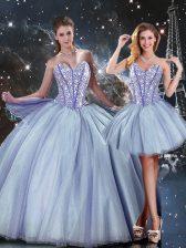 Custom Fit Sleeveless Lace Up Floor Length Beading 15th Birthday Dress